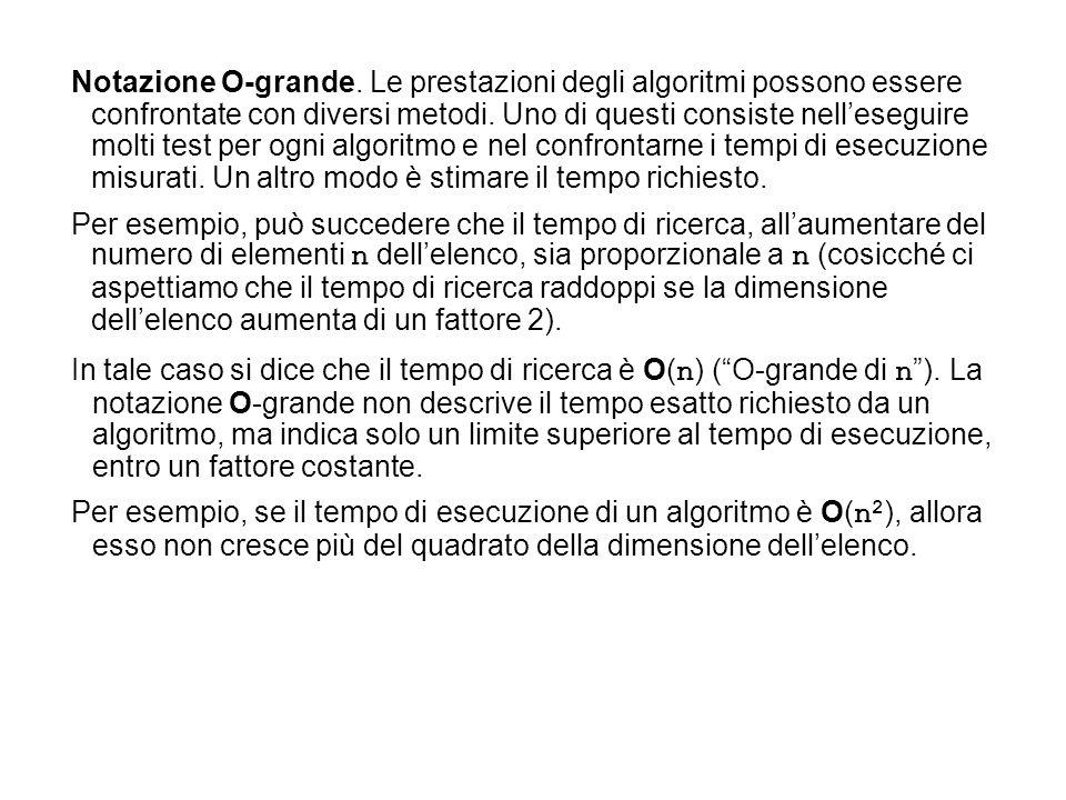 Notazione O-grande. Le prestazioni degli algoritmi possono essere confrontate con diversi metodi. Uno di questi consiste nell'eseguire molti test per ogni algoritmo e nel confrontarne i tempi di esecuzione misurati. Un altro modo è stimare il tempo richiesto.