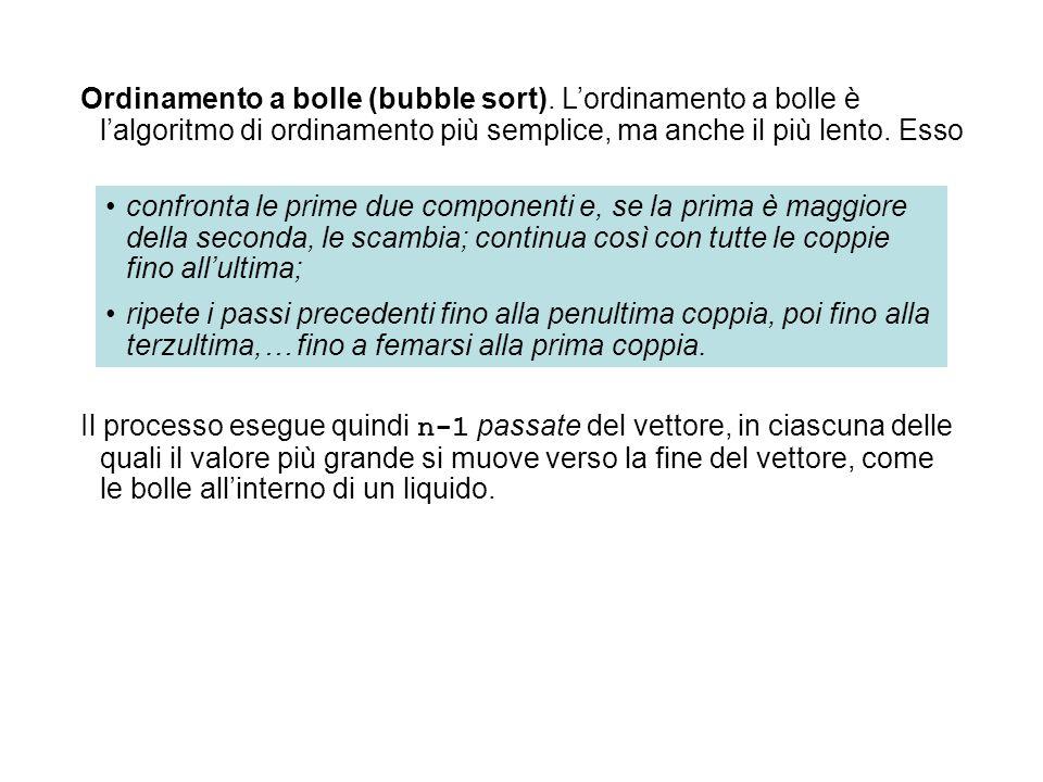 Ordinamento a bolle (bubble sort)