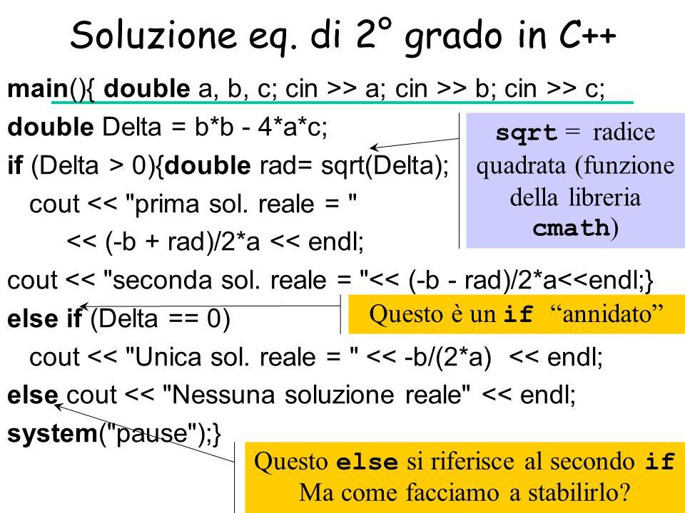 Soluzione eq. di 2° grado in C++