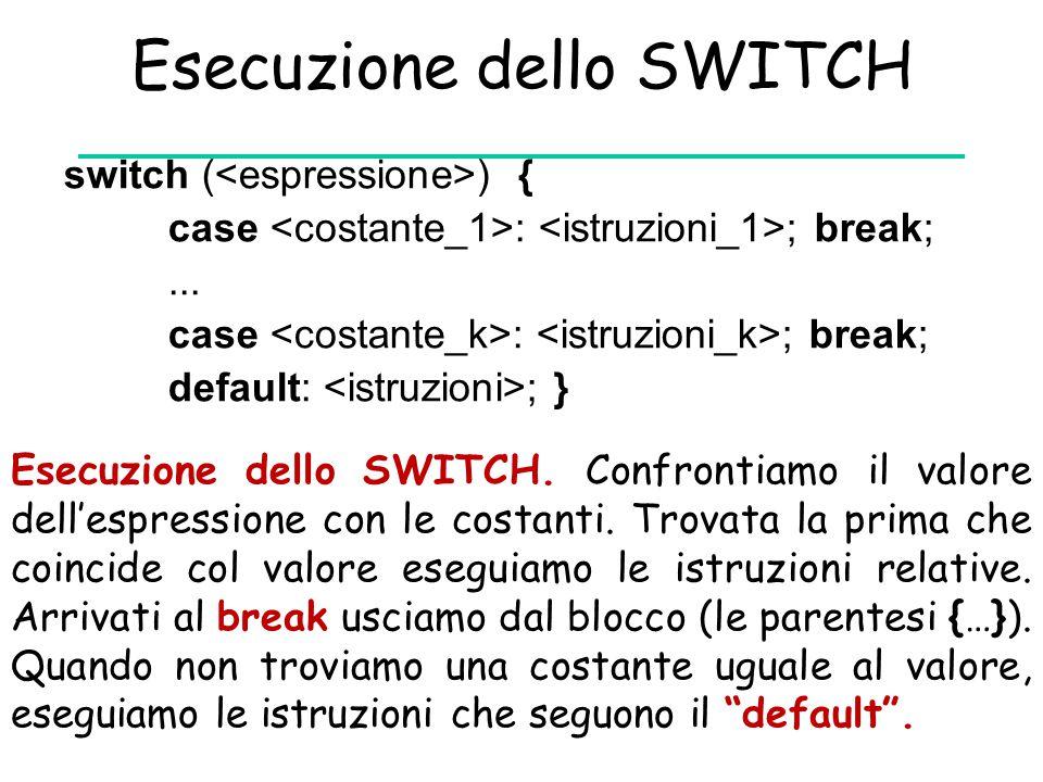 Esecuzione dello SWITCH