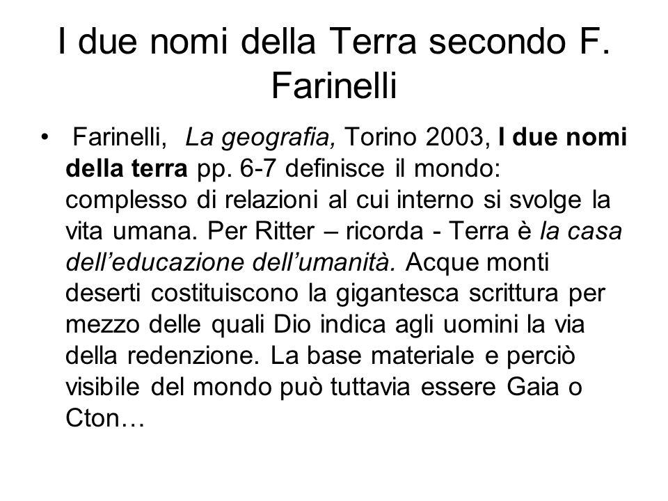I due nomi della Terra secondo F. Farinelli