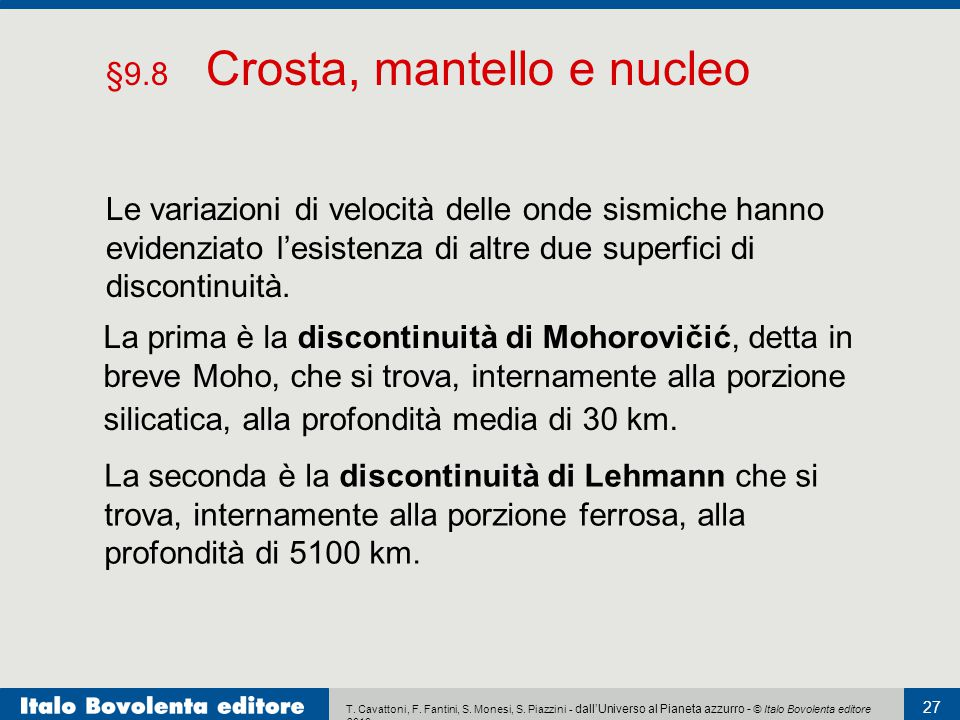 §9.8 Crosta, mantello e nucleo