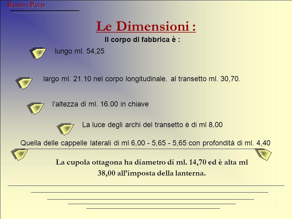 REGINA PACIS Le Dimensioni : Il corpo di fabbrica è : lungo ml. 54,25. largo ml. 21.10 nel corpo longitudinale. al transetto ml. 30,70.