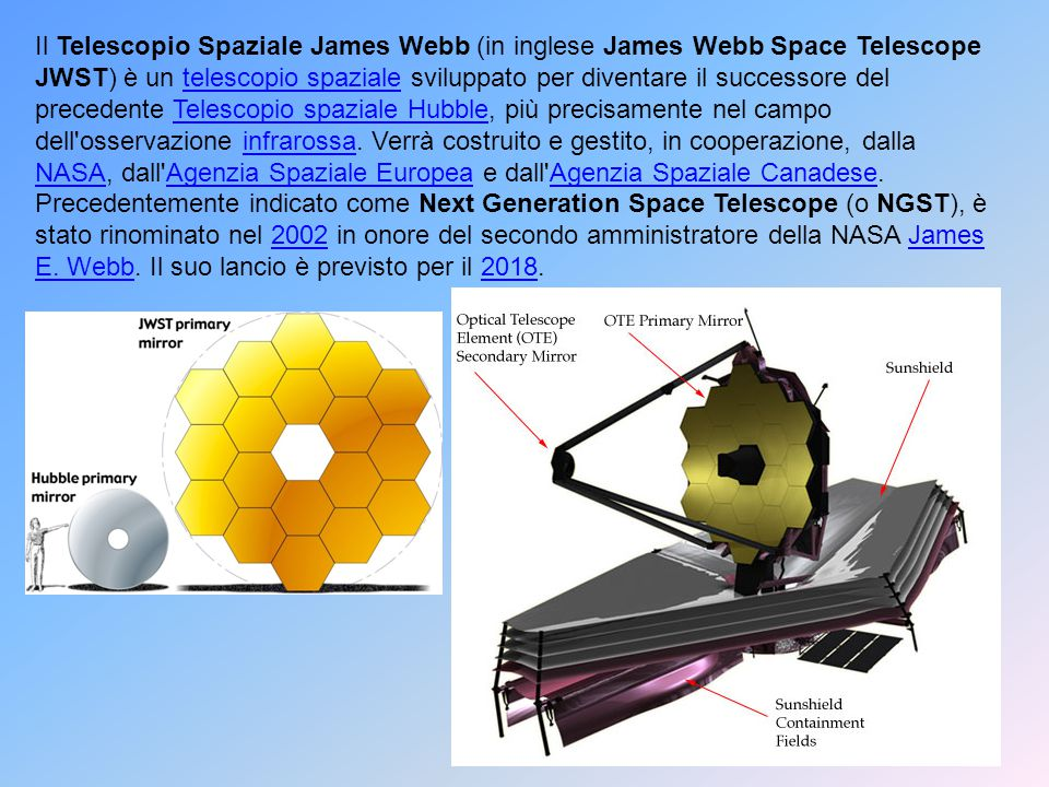 Il Telescopio Spaziale James Webb (in inglese James Webb Space Telescope JWST) è un telescopio spaziale sviluppato per diventare il successore del precedente Telescopio spaziale Hubble, più precisamente nel campo dell osservazione infrarossa. Verrà costruito e gestito, in cooperazione, dalla NASA, dall Agenzia Spaziale Europea e dall Agenzia Spaziale Canadese.