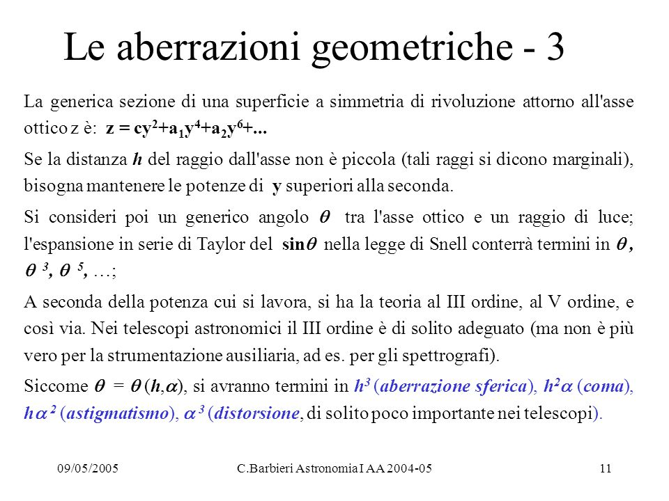 Le aberrazioni geometriche - 3