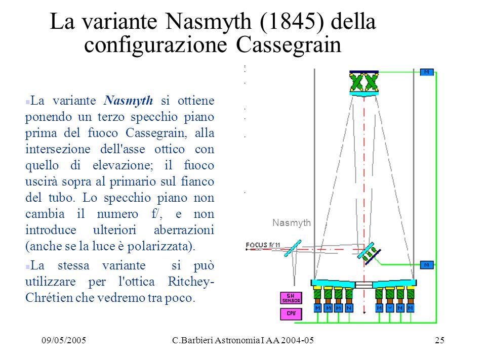 La variante Nasmyth (1845) della configurazione Cassegrain