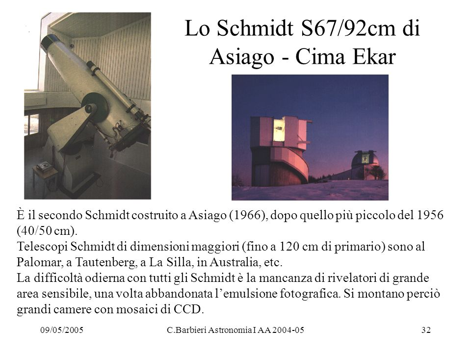 Lo Schmidt S67/92cm di Asiago - Cima Ekar
