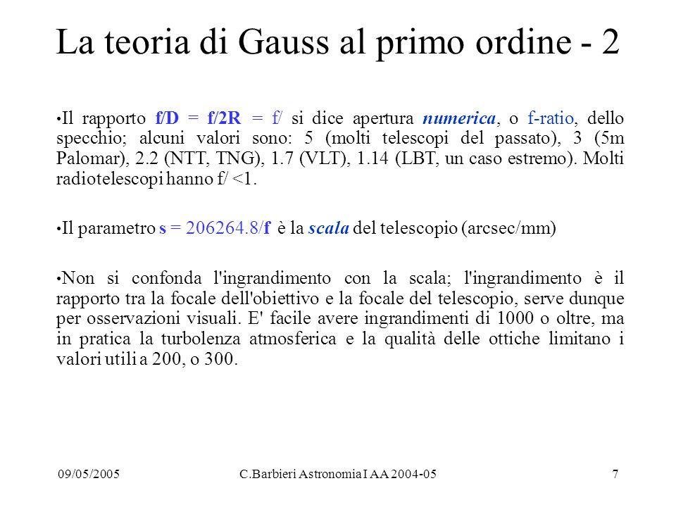 La teoria di Gauss al primo ordine - 2