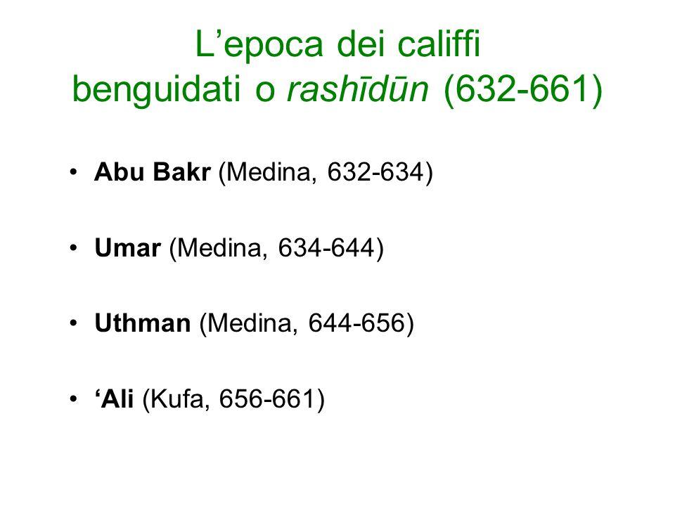 L'epoca dei califfi benguidati o rashīdūn (632-661)