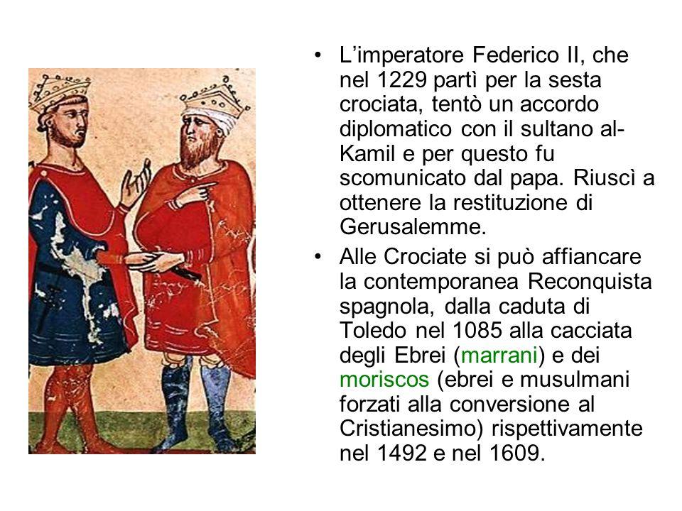 L'imperatore Federico II, che nel 1229 partì per la sesta crociata, tentò un accordo diplomatico con il sultano al-Kamil e per questo fu scomunicato dal papa. Riuscì a ottenere la restituzione di Gerusalemme.