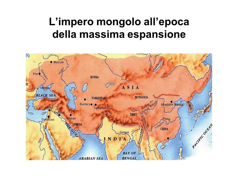 L'impero mongolo all'epoca della massima espansione