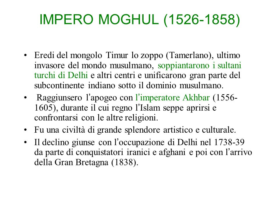 IMPERO MOGHUL (1526-1858)