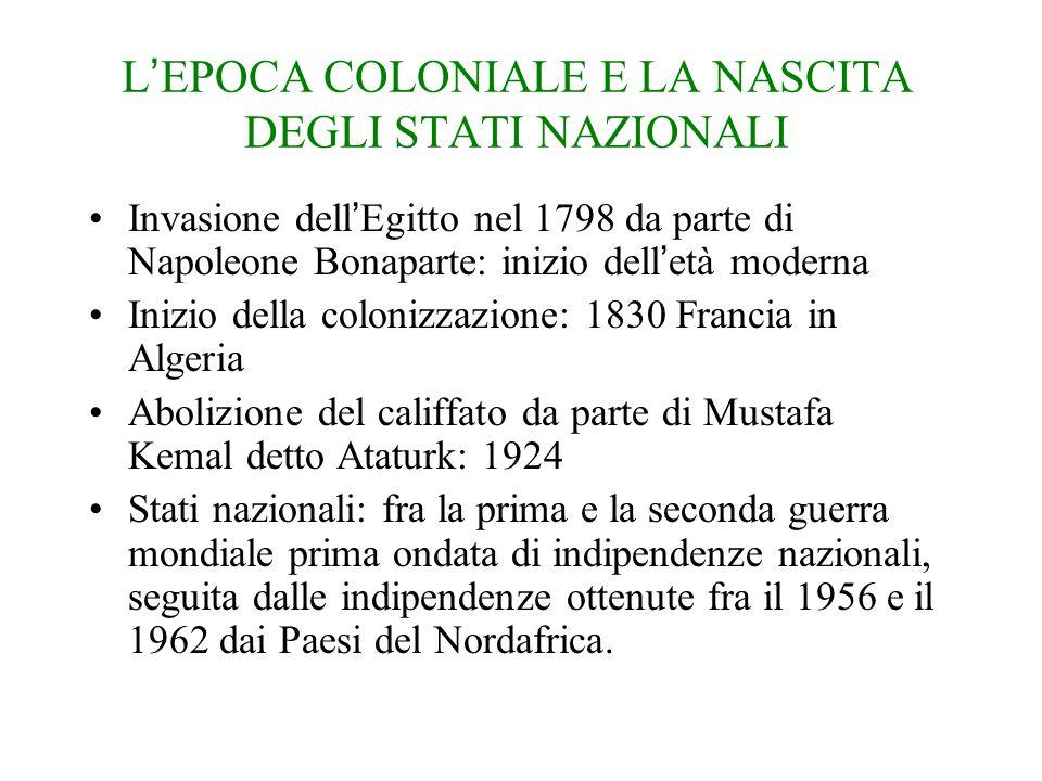 L'EPOCA COLONIALE E LA NASCITA DEGLI STATI NAZIONALI