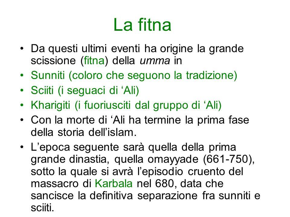 La fitna Da questi ultimi eventi ha origine la grande scissione (fitna) della umma in. Sunniti (coloro che seguono la tradizione)