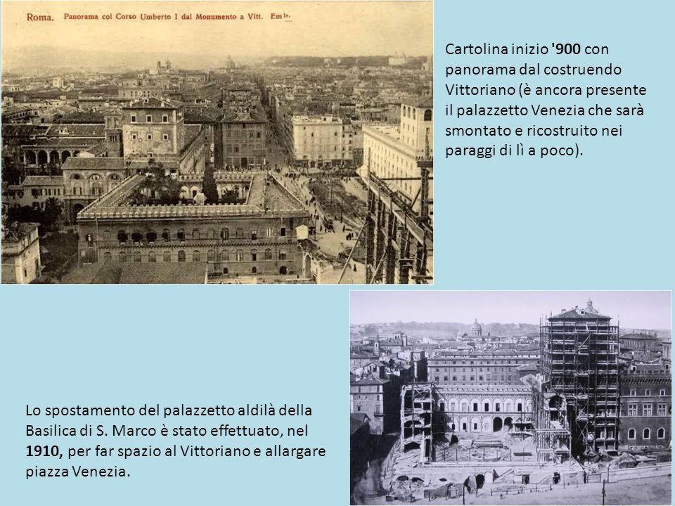Cartolina inizio 900 con panorama dal costruendo Vittoriano (è ancora presente il palazzetto Venezia che sarà smontato e ricostruito nei paraggi di lì a poco).