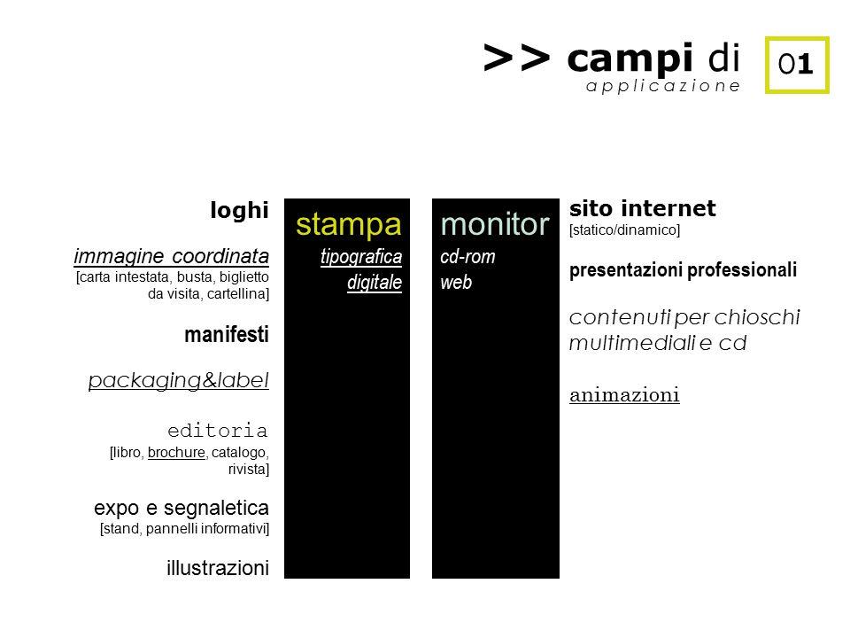 >> campi di stampa monitor O1 manifesti loghi