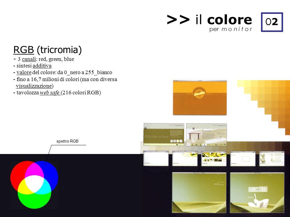 >> il colore O2 RGB (tricromia) per m o n i t o r