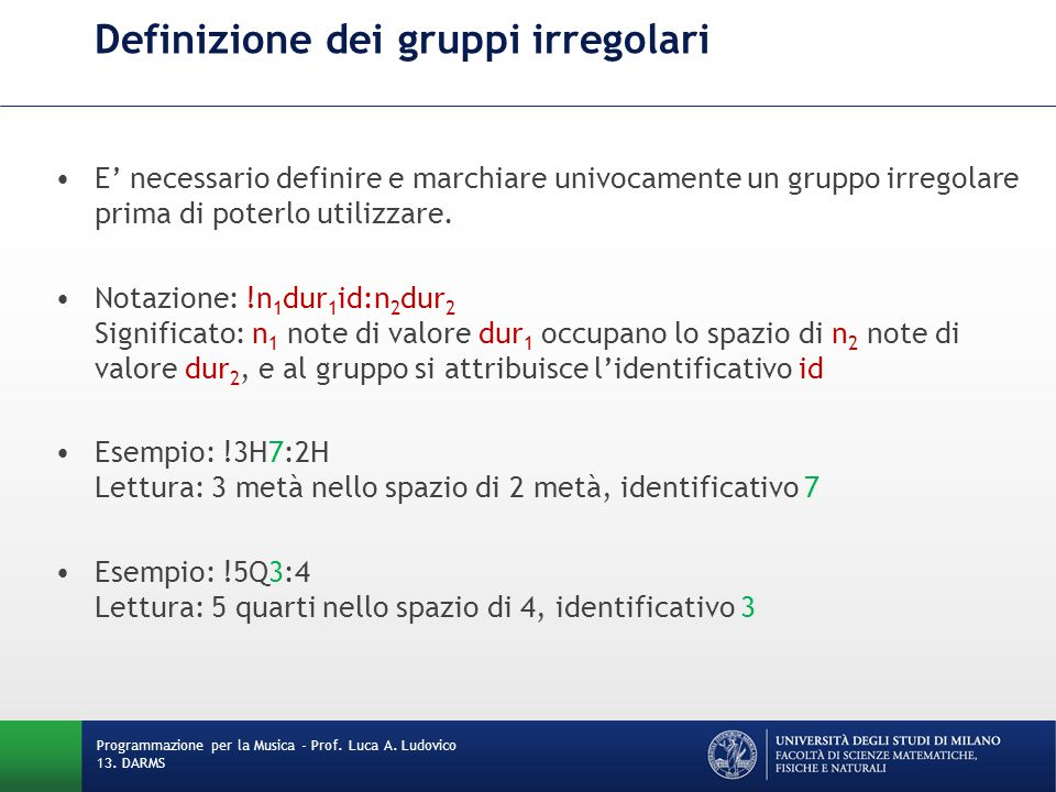 Definizione dei gruppi irregolari