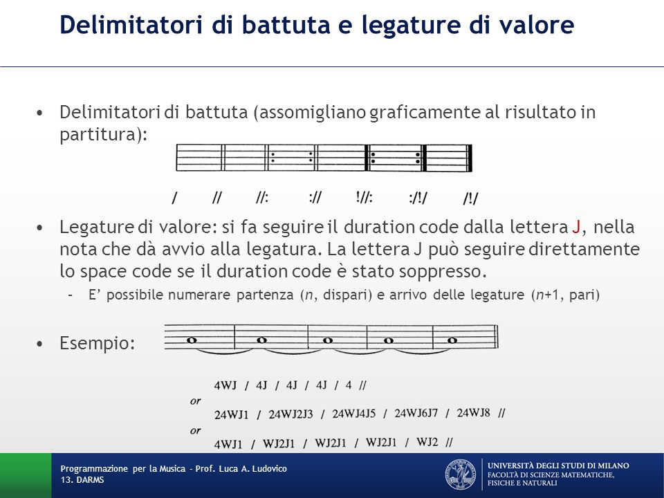 Delimitatori di battuta e legature di valore