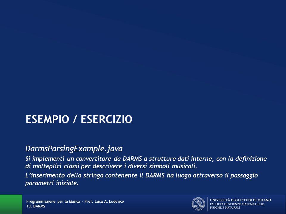 ESEMPIO / ESERCIZIO DarmsParsingExample.java