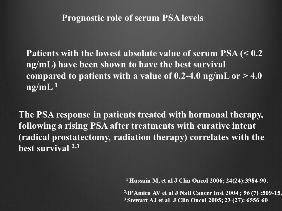Prognostic role of serum PSA levels