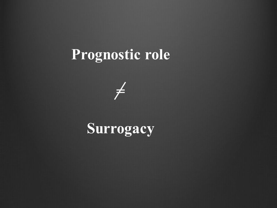 Prognostic role = Surrogacy