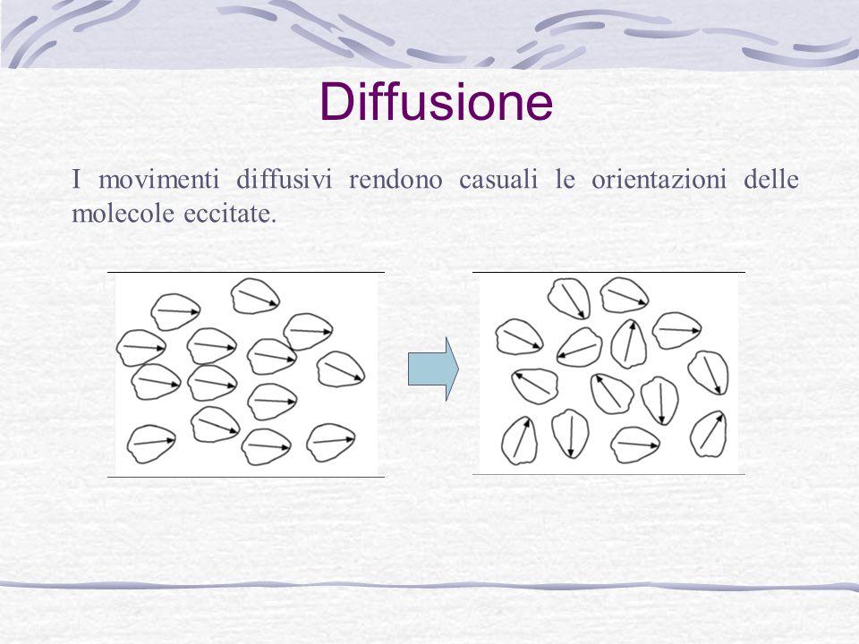 Diffusione I movimenti diffusivi rendono casuali le orientazioni delle molecole eccitate.
