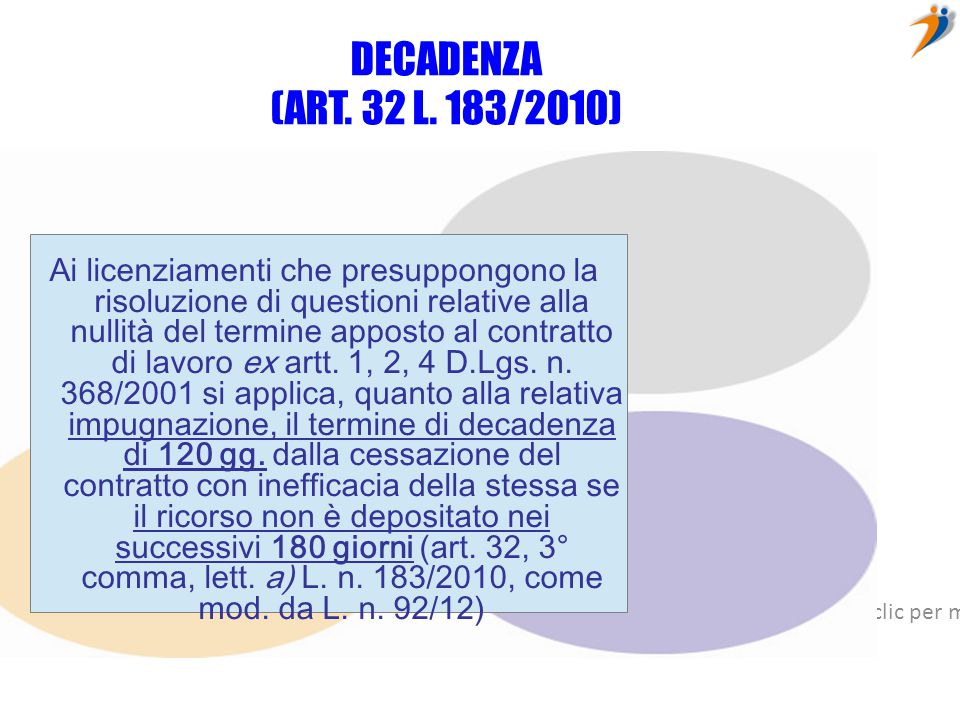 DECADENZA (ART. 32 L. 183/2010)