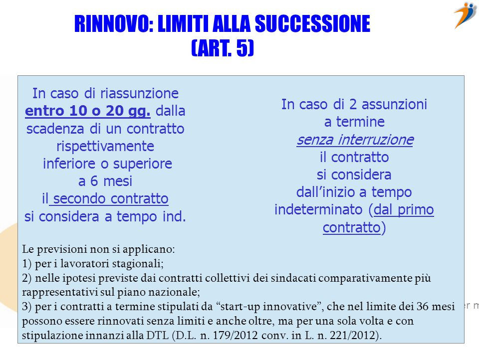 RINNOVO: LIMITI ALLA SUCCESSIONE (ART. 5)