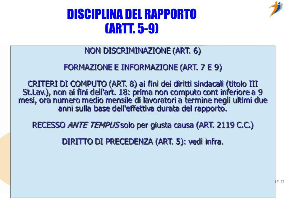 DISCIPLINA DEL RAPPORTO (ARTT. 5-9)