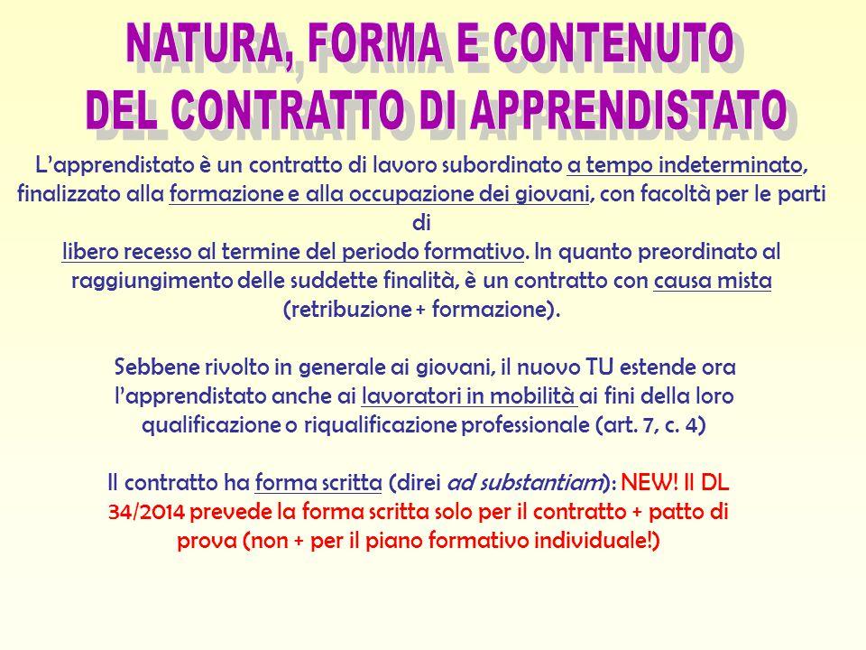 NATURA, FORMA E CONTENUTO DEL CONTRATTO DI APPRENDISTATO