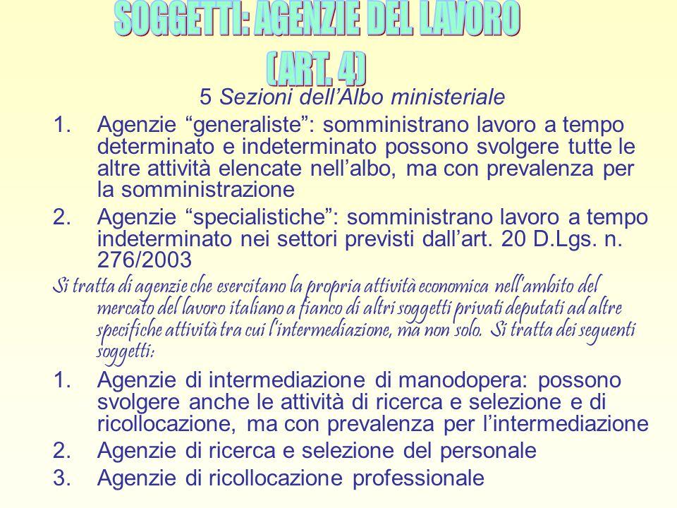 5 Sezioni dell'Albo ministeriale
