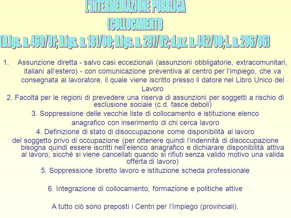 L INTERMEDIAZIONE PUBBLICA (COLLOCAMENTO