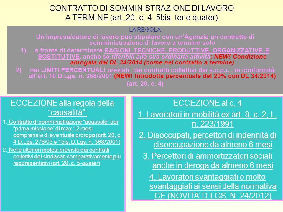 CONTRATTO DI SOMMINISTRAZIONE DI LAVORO A TERMINE (art. 20, c