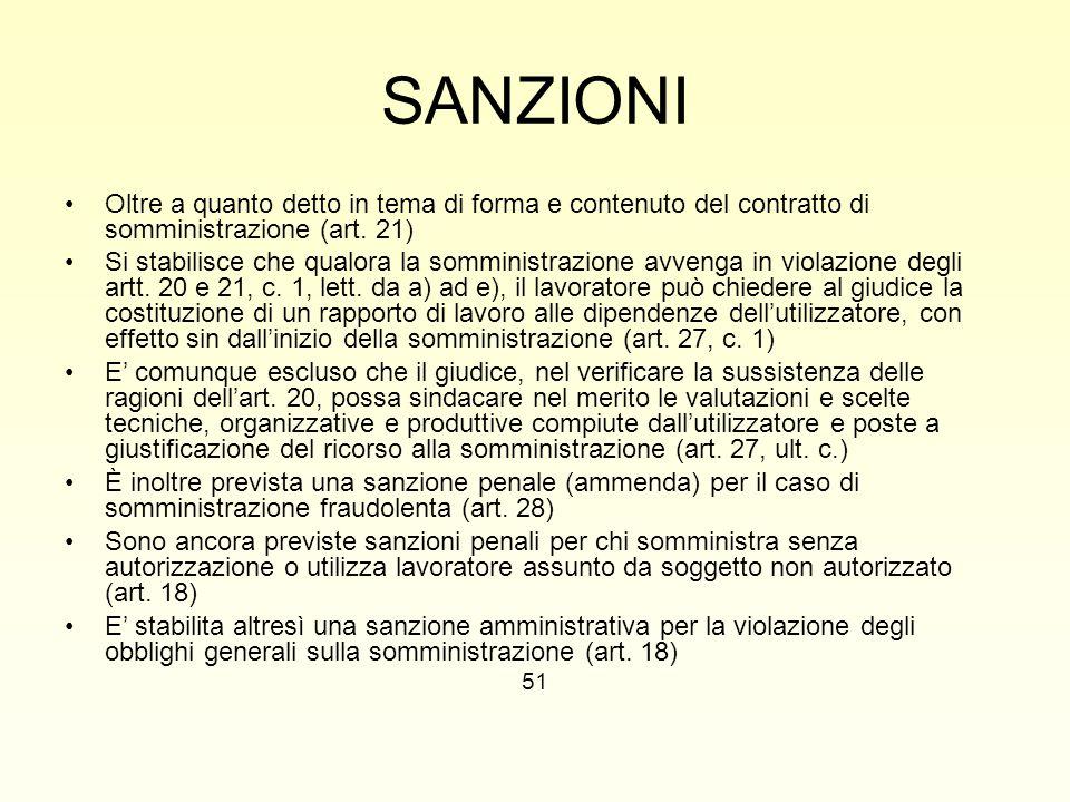 SANZIONI Oltre a quanto detto in tema di forma e contenuto del contratto di somministrazione (art. 21)