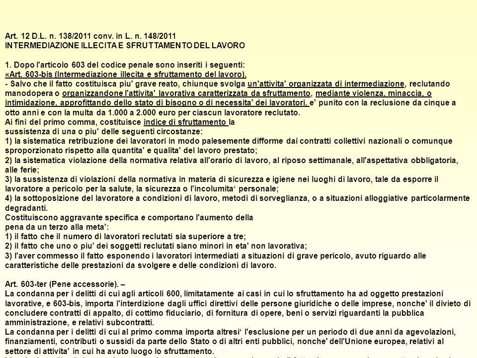 Art. 12 D.L. n. 138/2011 conv. in L. n.