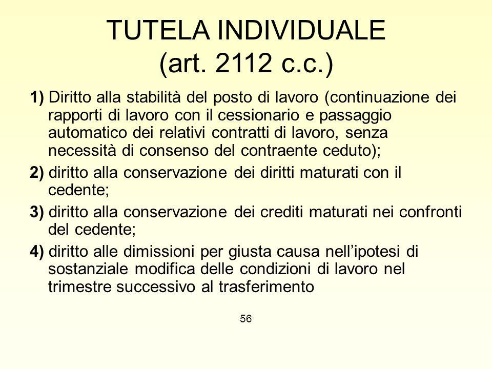 TUTELA INDIVIDUALE (art. 2112 c.c.)