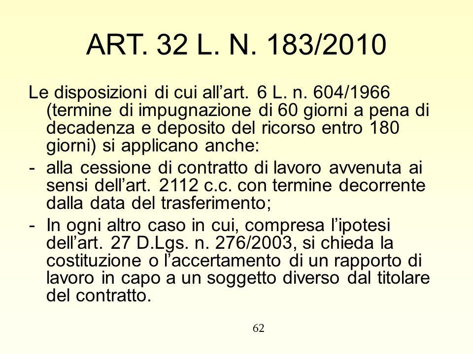 ART. 32 L. N. 183/2010