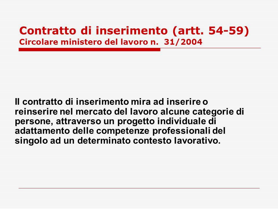 Contratto di inserimento (artt. 54-59) Circolare ministero del lavoro n. 31/2004