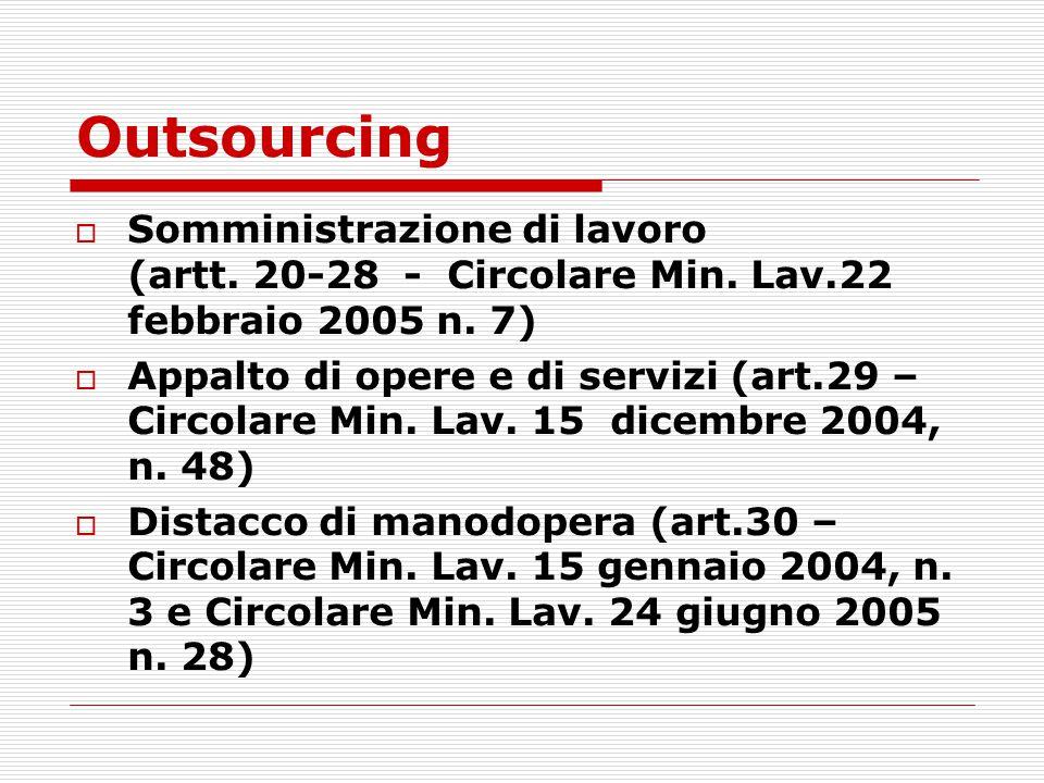 Outsourcing Somministrazione di lavoro (artt. 20-28 - Circolare Min. Lav.22 febbraio 2005 n. 7)
