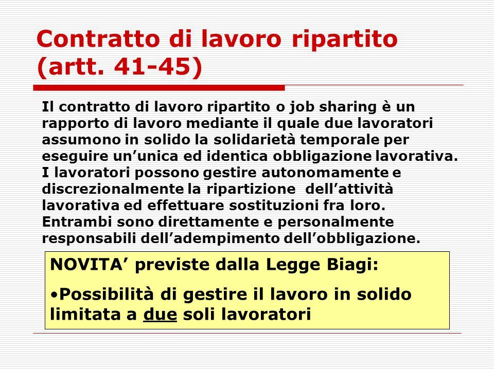 Contratto di lavoro ripartito (artt. 41-45)