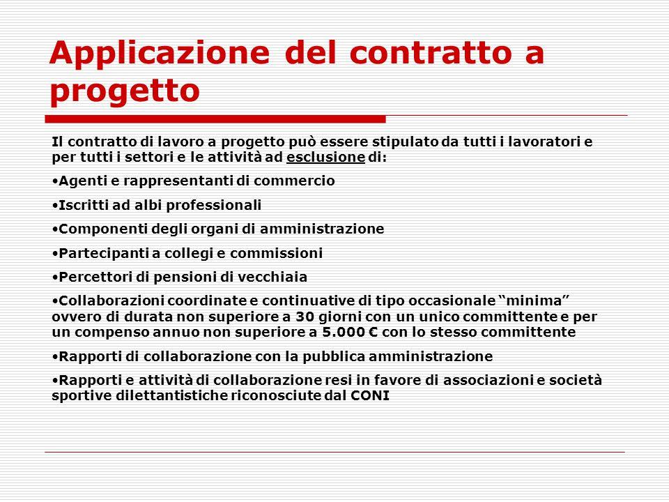 Applicazione del contratto a progetto
