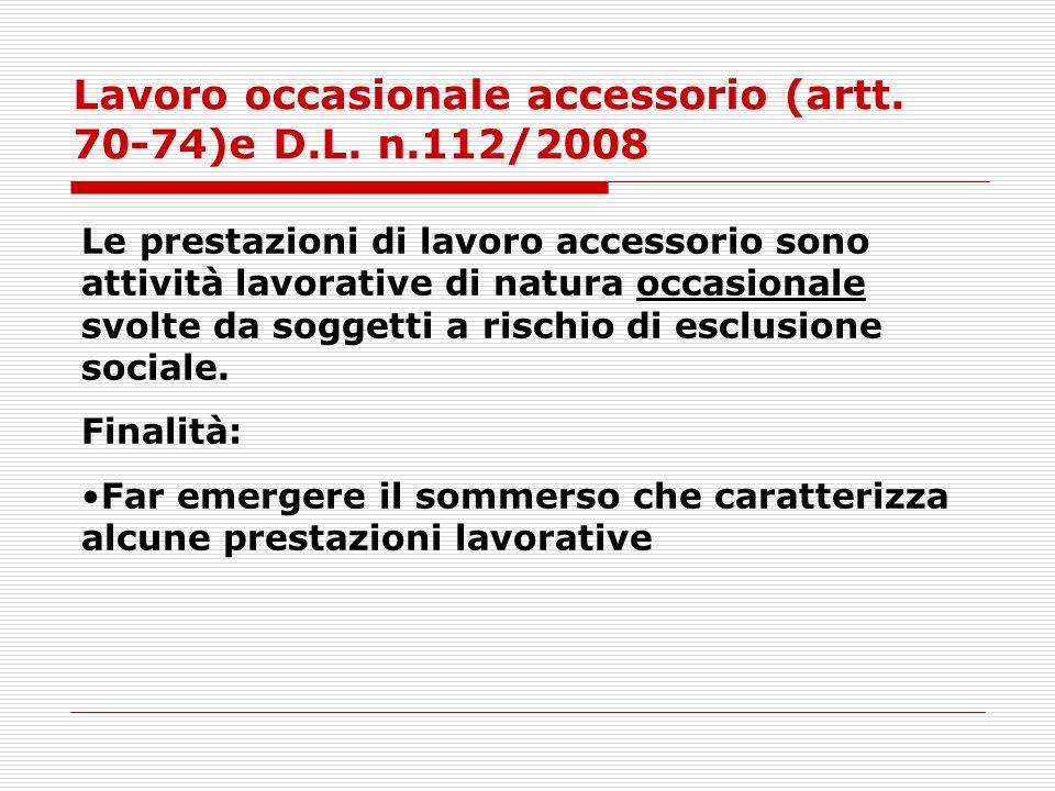 Lavoro occasionale accessorio (artt. 70-74)e D.L. n.112/2008