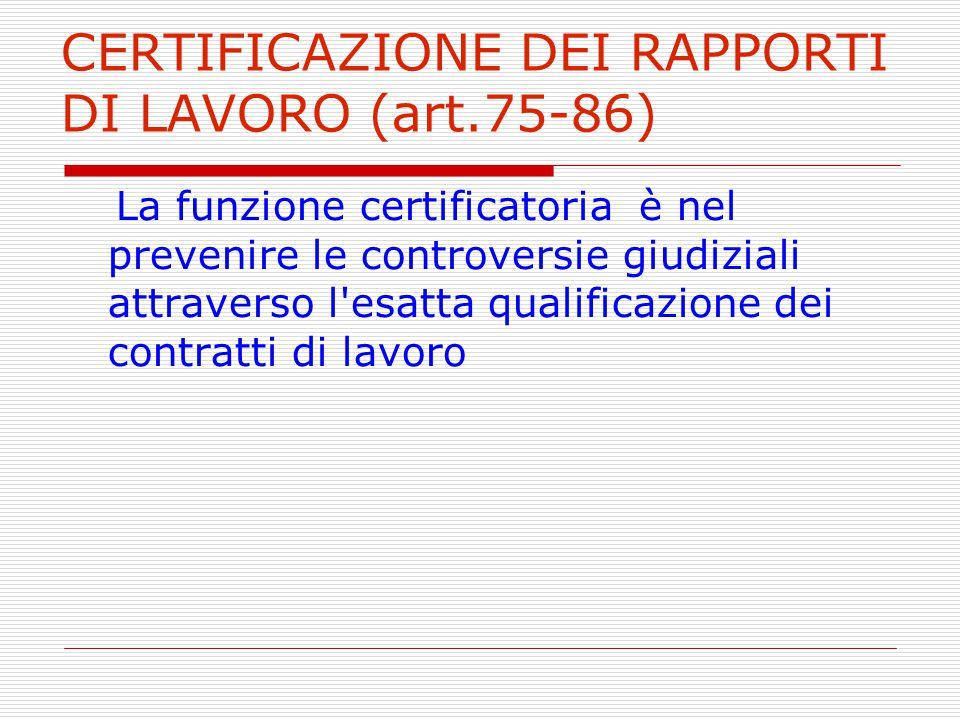 CERTIFICAZIONE DEI RAPPORTI DI LAVORO (art.75-86)