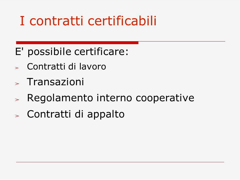 I contratti certificabili