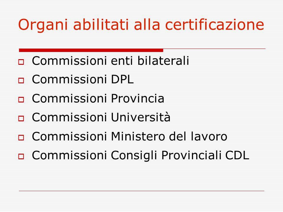 Organi abilitati alla certificazione