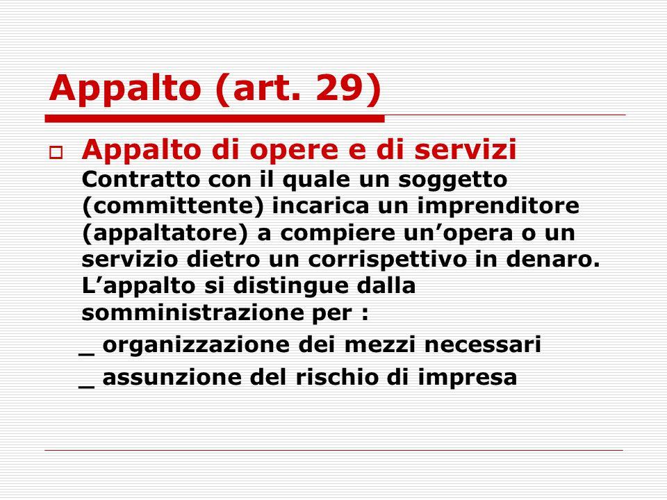 Appalto (art. 29)