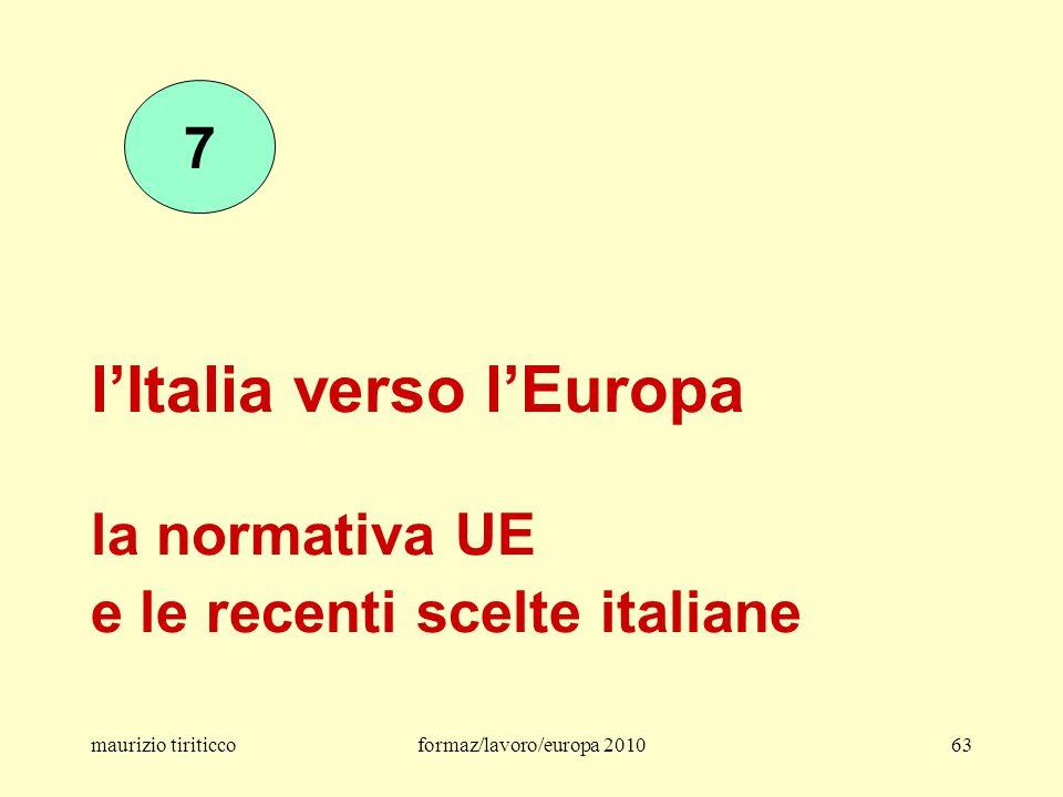 l'Italia verso l'Europa la normativa UE e le recenti scelte italiane