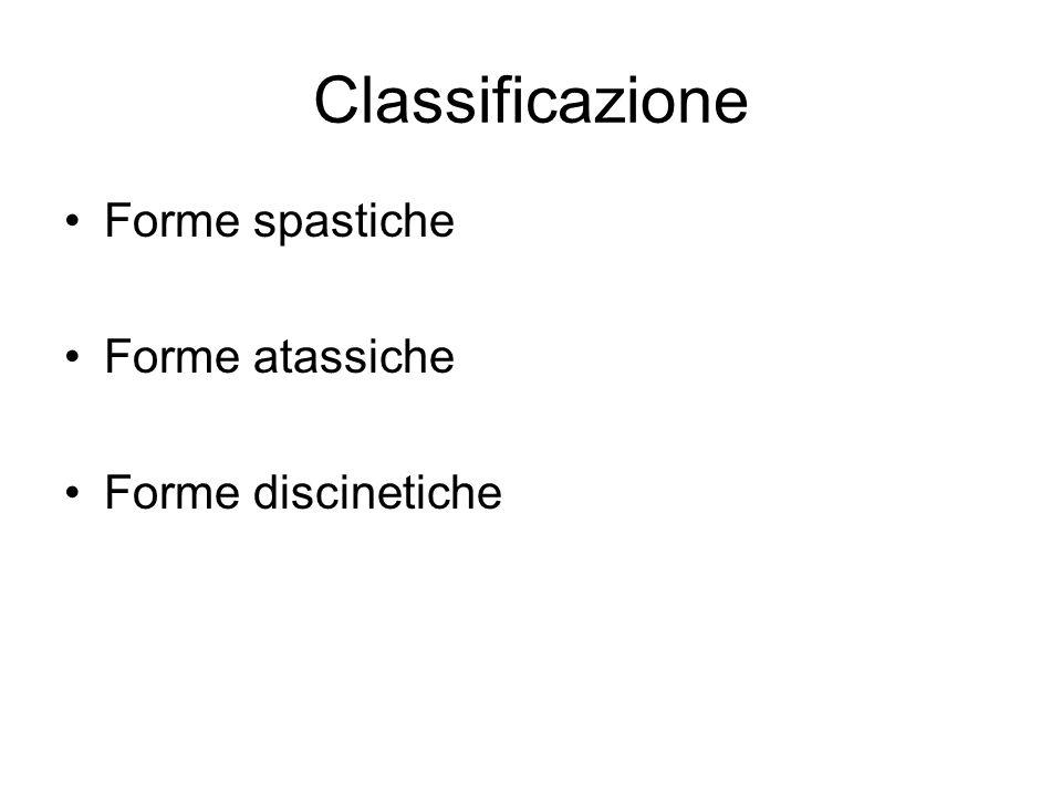 Classificazione Forme spastiche Forme atassiche Forme discinetiche