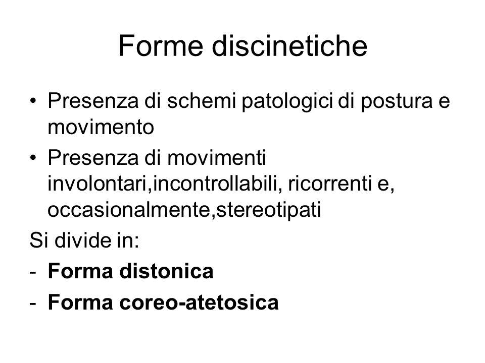 Forme discinetiche Presenza di schemi patologici di postura e movimento.